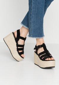 Even&Odd - WEDGE  LEATHER - High heeled sandals - black - 0