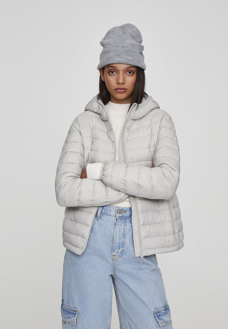 PULL&BEAR - Winter jacket - mottled light grey