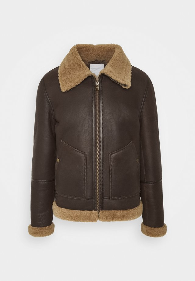 LONDON LAMMY - Leather jacket - cacao