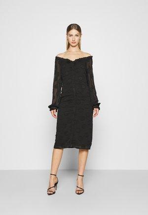 FRILL NECK MIDI DRESS - Sukienka letnia - black