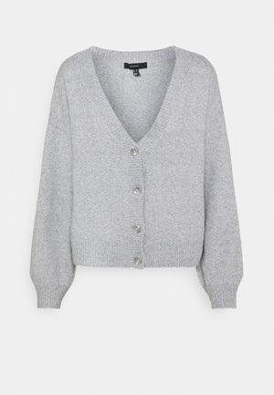 VMDOFFY V-NECK BUTTON CARDIGAN - Cardigan - light grey melange