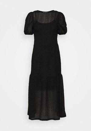 TEXTURED PUFF SLEEVE MIDI - Sukienka letnia - black