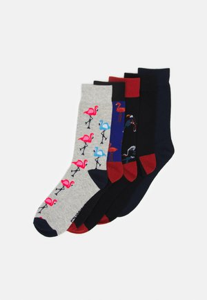 JACSUMMER FLAMINGO SOCK 5 PACK - Calze - light grey melange/navy blazer