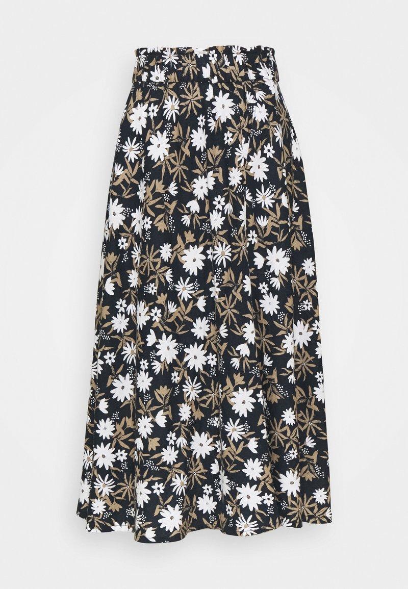 Marks & Spencer London - FLORAL SKIRT - A-line skirt - dark blue