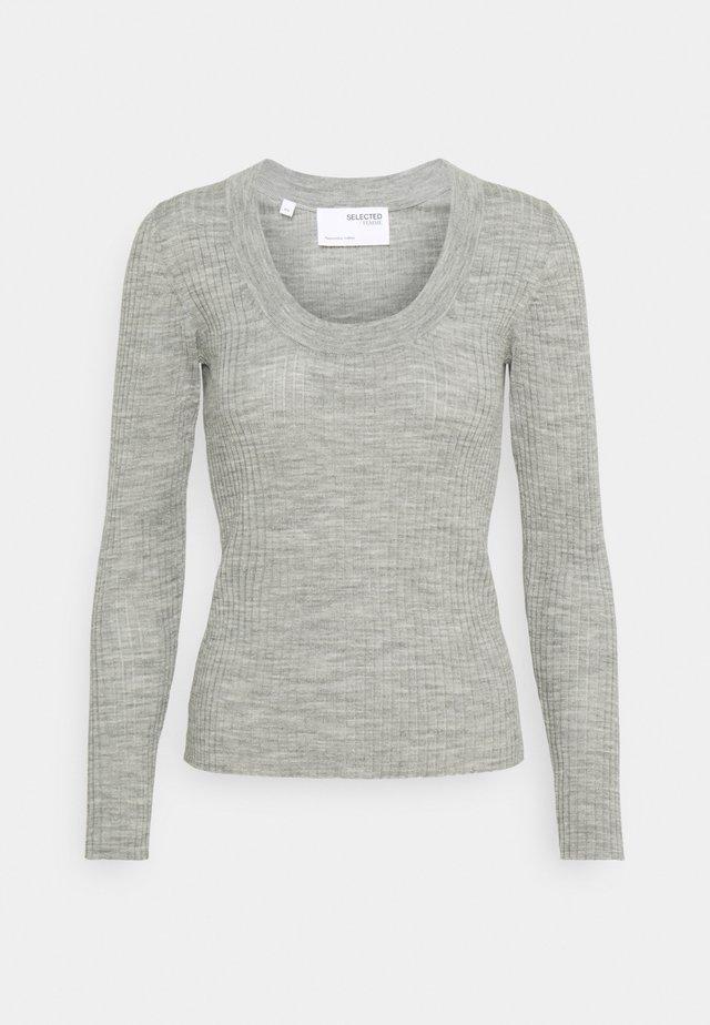 SLFCOSTA NEW DEEP UNECK - Strikkegenser - light grey melange