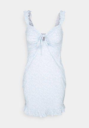 DRAWSTRING FRILL DRESS - Shift dress - blue/white