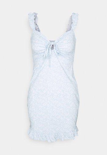 DRAWSTRING FRILL DRESS - Etuikjole - blue/white