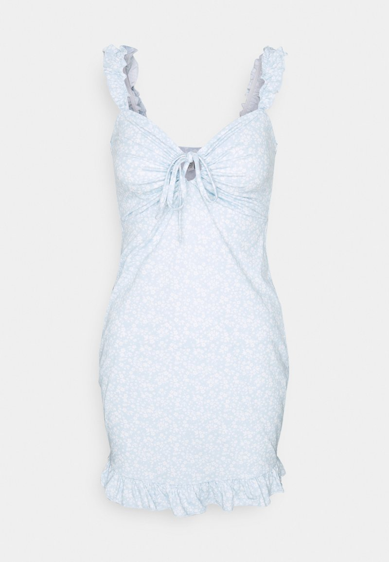 Nly by Nelly - DRAWSTRING FRILL DRESS - Etuikjole - blue/white