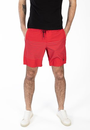 STRIPED - Swimming shorts - red