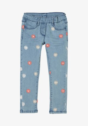 MIT BLUMEN-STICKEREI - Jeggings - light blue