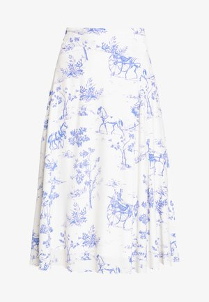 NUARIZILLA SKIRT - A-line skirt - blue/off-white