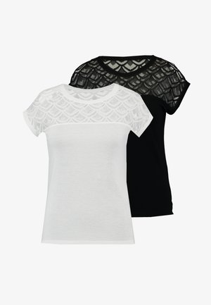 ONLNICOLE MIX 2 PACK - T-shirts med print - black/cloud dancer