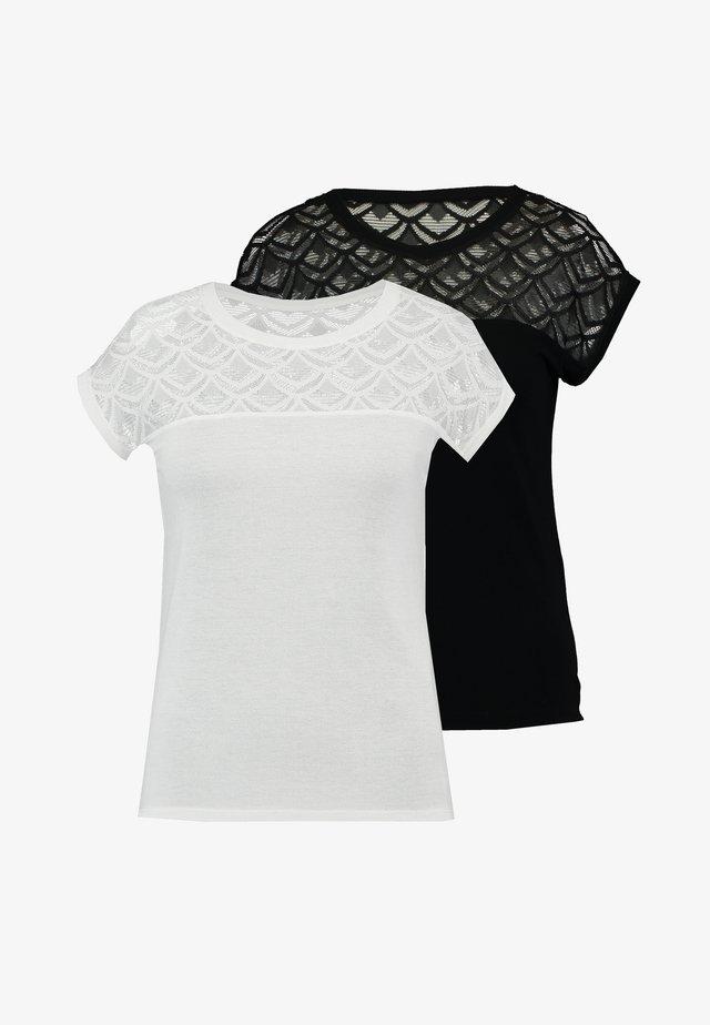 ONLNICOLE MIX 2 PACK - T-shirt imprimé - black/cloud dancer