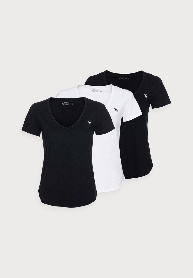 Abercrombie & Fitch - WHOLESALE 3 PACK - T-shirt - bas - black/black/ white