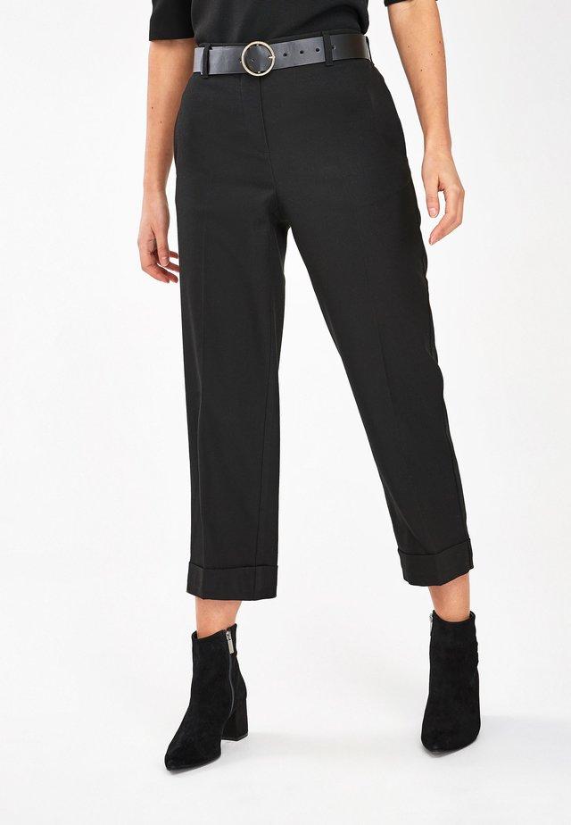 CHECK CULOTTE TROUSERS - Pantalones - black