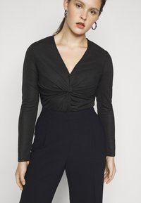 Glamorous Curve - LONG SLEEVE BODYSUIT WITH KNOT DETAIL - Long sleeved top - black metallic - 5