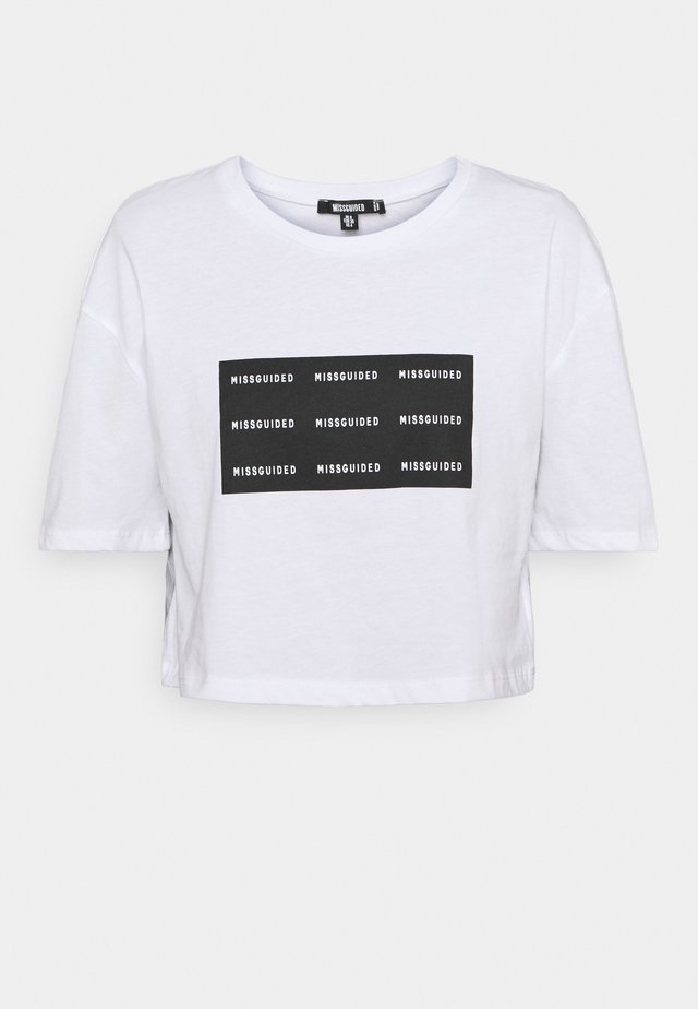 REPEAT ROLL CROP TOP - Print T-shirt - white