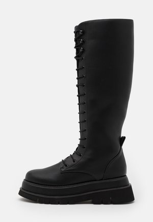 CHUNKY LACE UP BOOTS - Platform boots - black