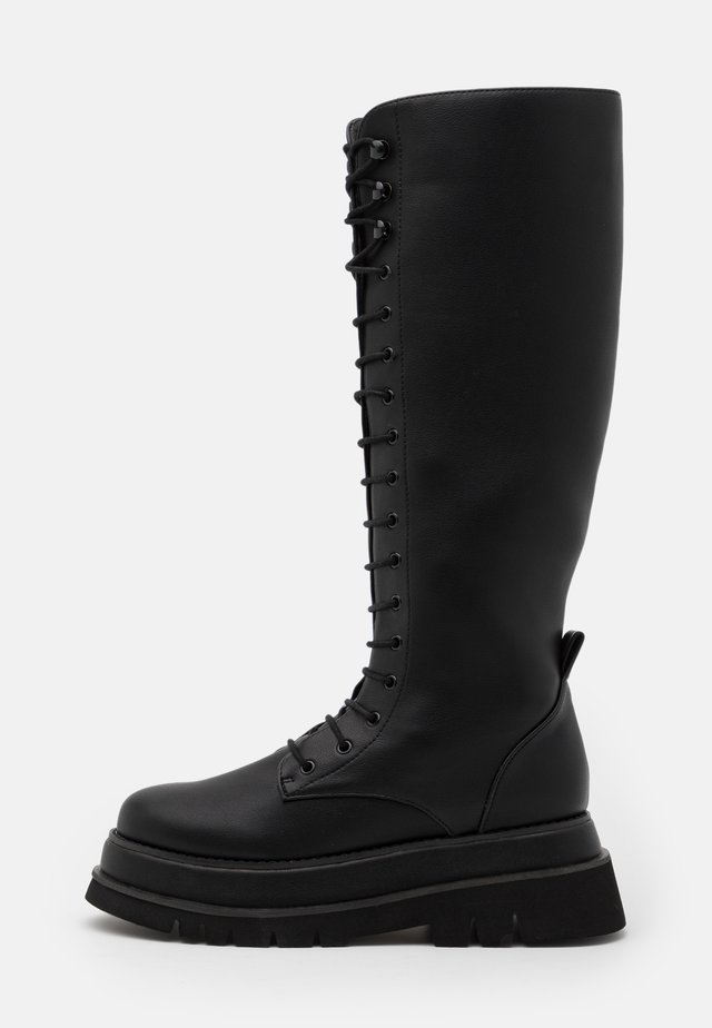 CHUNKY LACE UP BOOTS - Plateaulaarzen - black