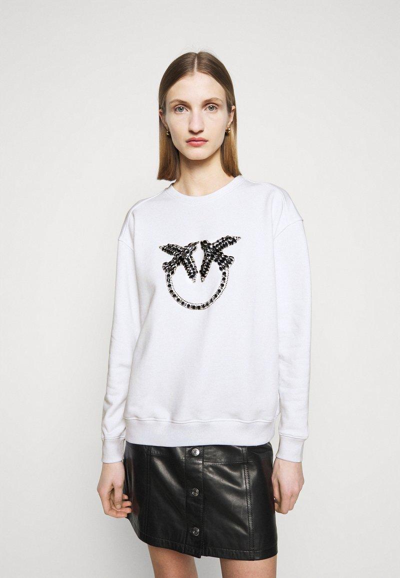 Pinko - NELLY MAGLIA FELPA DIAGONALE - Sweatshirt - white