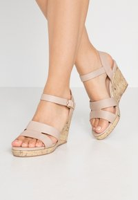 New Look Wide Fit - WIDE FIT POSSUM WEDGE - High heeled sandals - oatmeal - 0