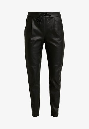 VMEVA LOOSE STRING COATED PANT - Pantalones - black