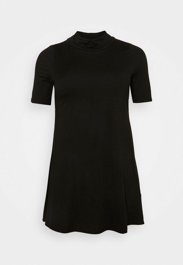 PUFF SLEEVE SWING DRESS - Vestito di maglina - black