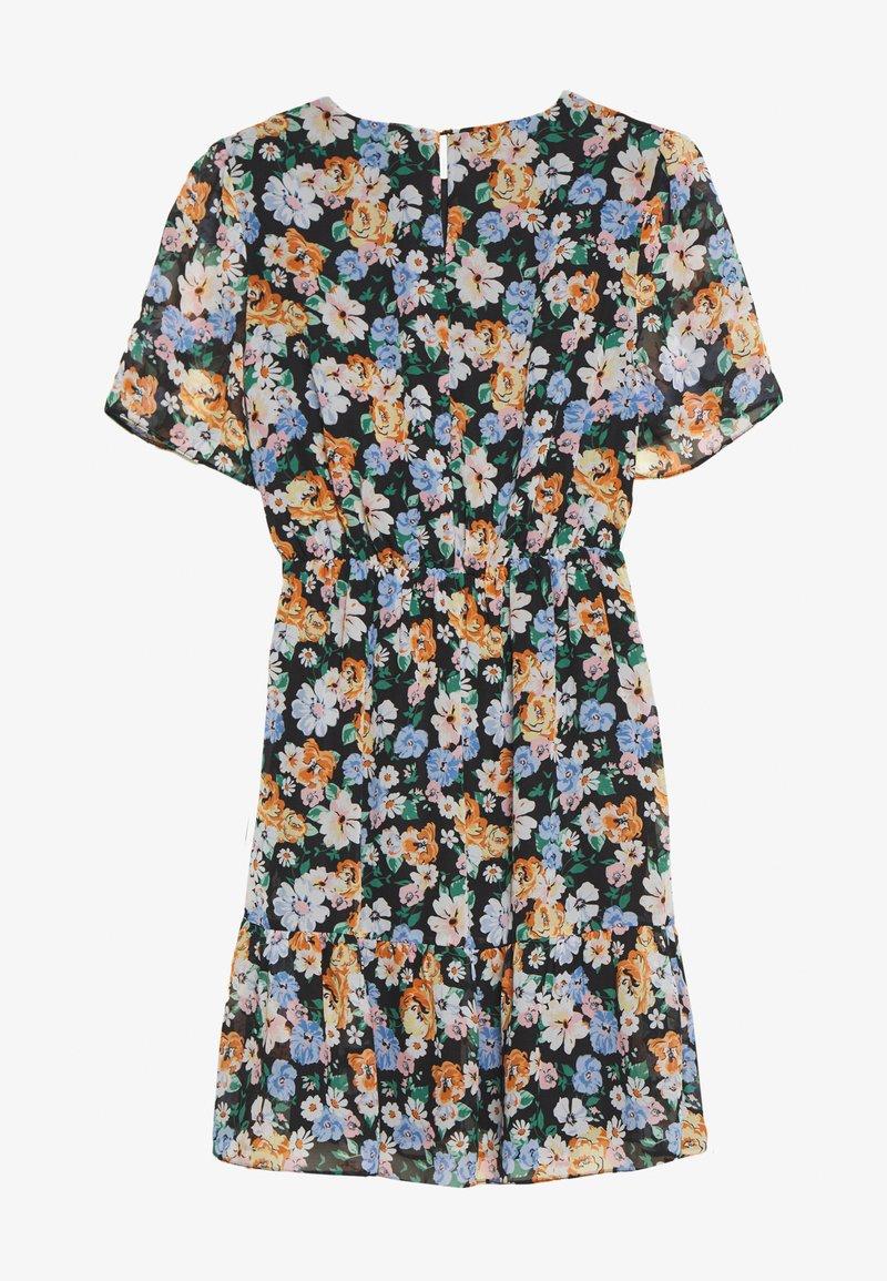 Dorothy Perkins - FLORAL PEPLUM HEM FIT AND FLARE DRESS - Day dress - black