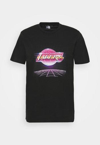 LOS ANGELES LAKERS NBA FUTURISTIC GRAPHIC TEE - Club wear - black