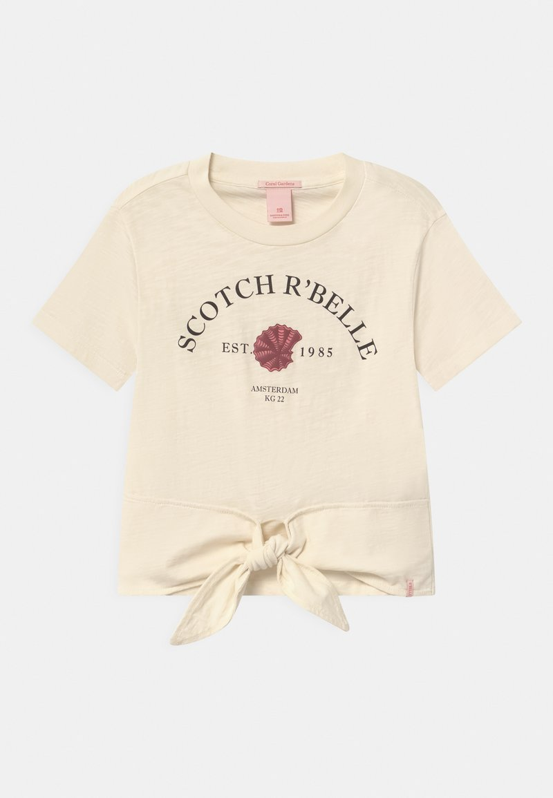 Scotch & Soda - SHORT SLEEVE WITH FRONT TIE - Print T-shirt - off white