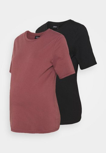 OLMONLY LIFE 2 PACK - Basic T-shirt - rose brown