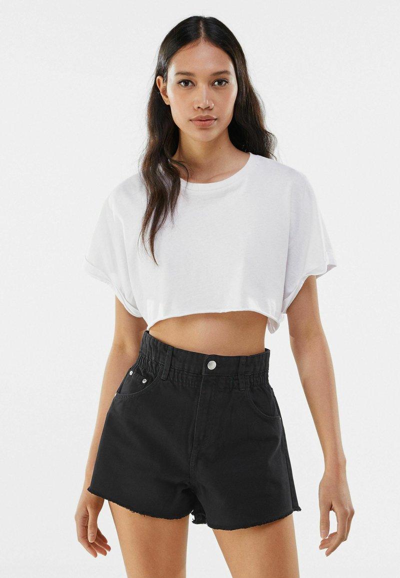 Bershka - Denim shorts - dark grey