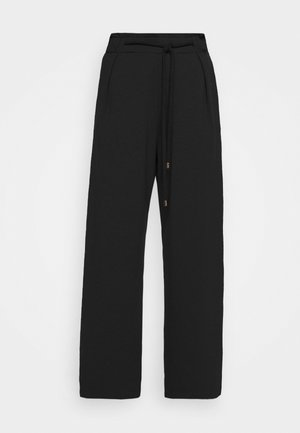 WIDE LEG JOGGER WITH ROPE TIE - Joggebukse - black