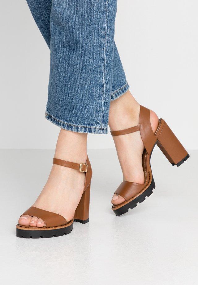 DEBORA - High heeled sandals - cognac