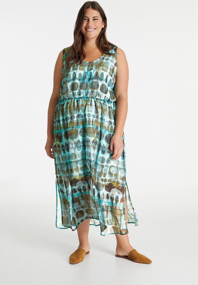 Korte jurk - mocca brown gemustert