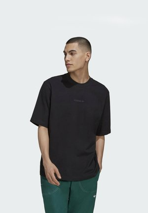 RIB DETAIL - Basic T-shirt - black