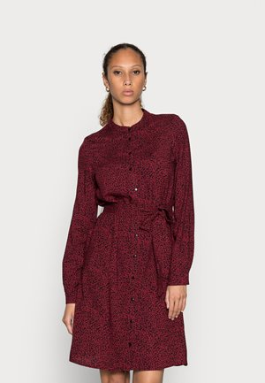 BLOUSE SHORT DRESS - Shirt dress - bordeaux/black