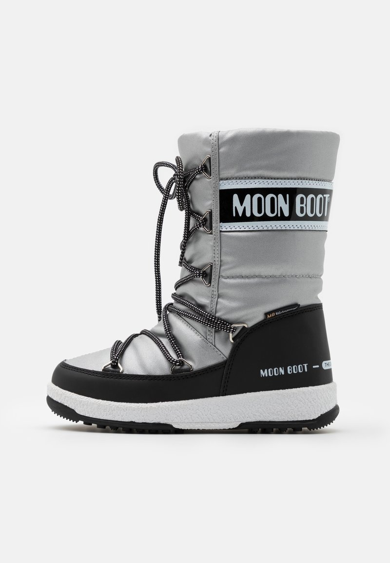 Moon Boot - JR GIRL QUILTED WP - Botas para la nieve - silver/black