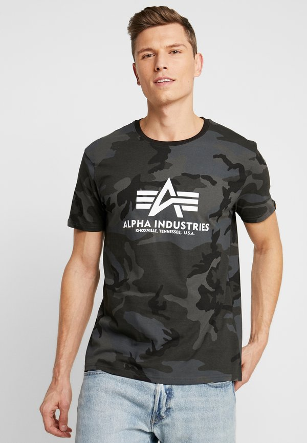 Alpha Industries T-shirt z nadrukiem - black/czarny melanż Odzież Męska YGGW