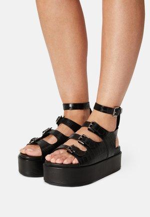 PARKER - Sandaalit nilkkaremmillä - black