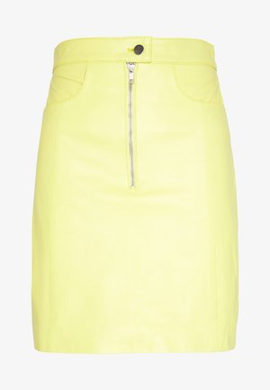 RUDY SKIRT - Leather skirt - yellow