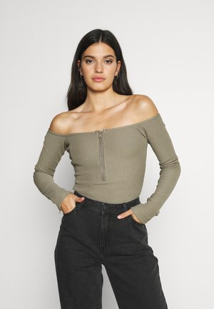 HALF ZIP BODY - Long sleeved top - brindle