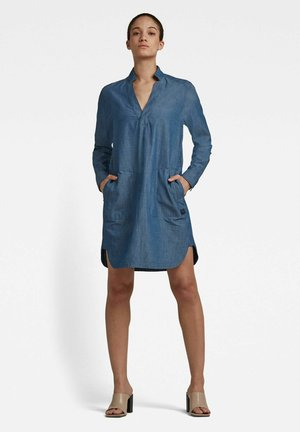 MILARY V-NECK SHIRT - Denim dress - rinsed