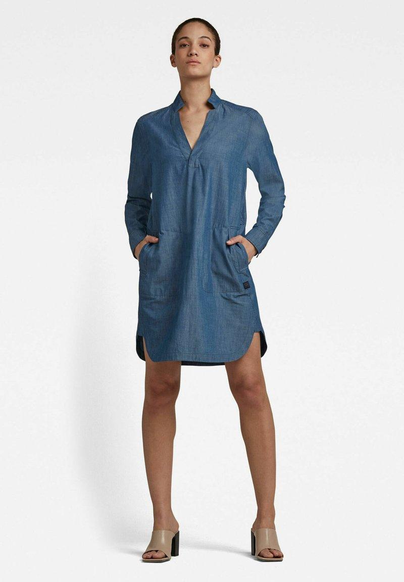 G-Star - MILARY V-NECK SHIRT - Denim dress - rinsed