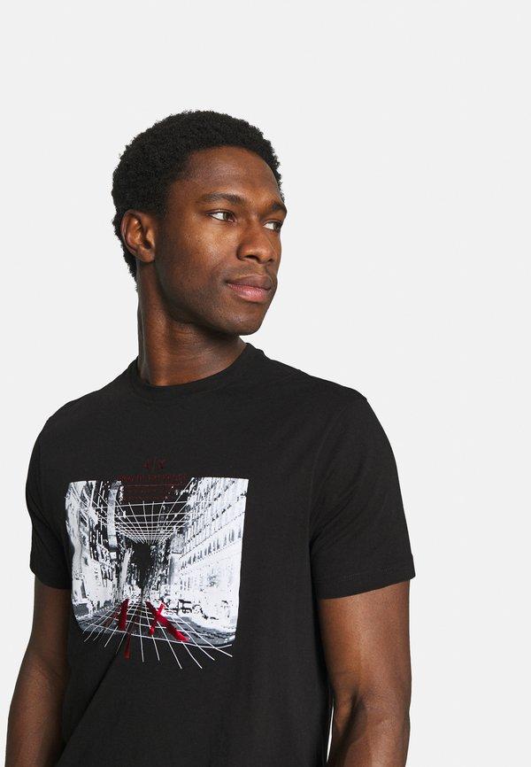 Armani Exchange T-shirt z nadrukiem - black/czarny Odzież Męska WLUS
