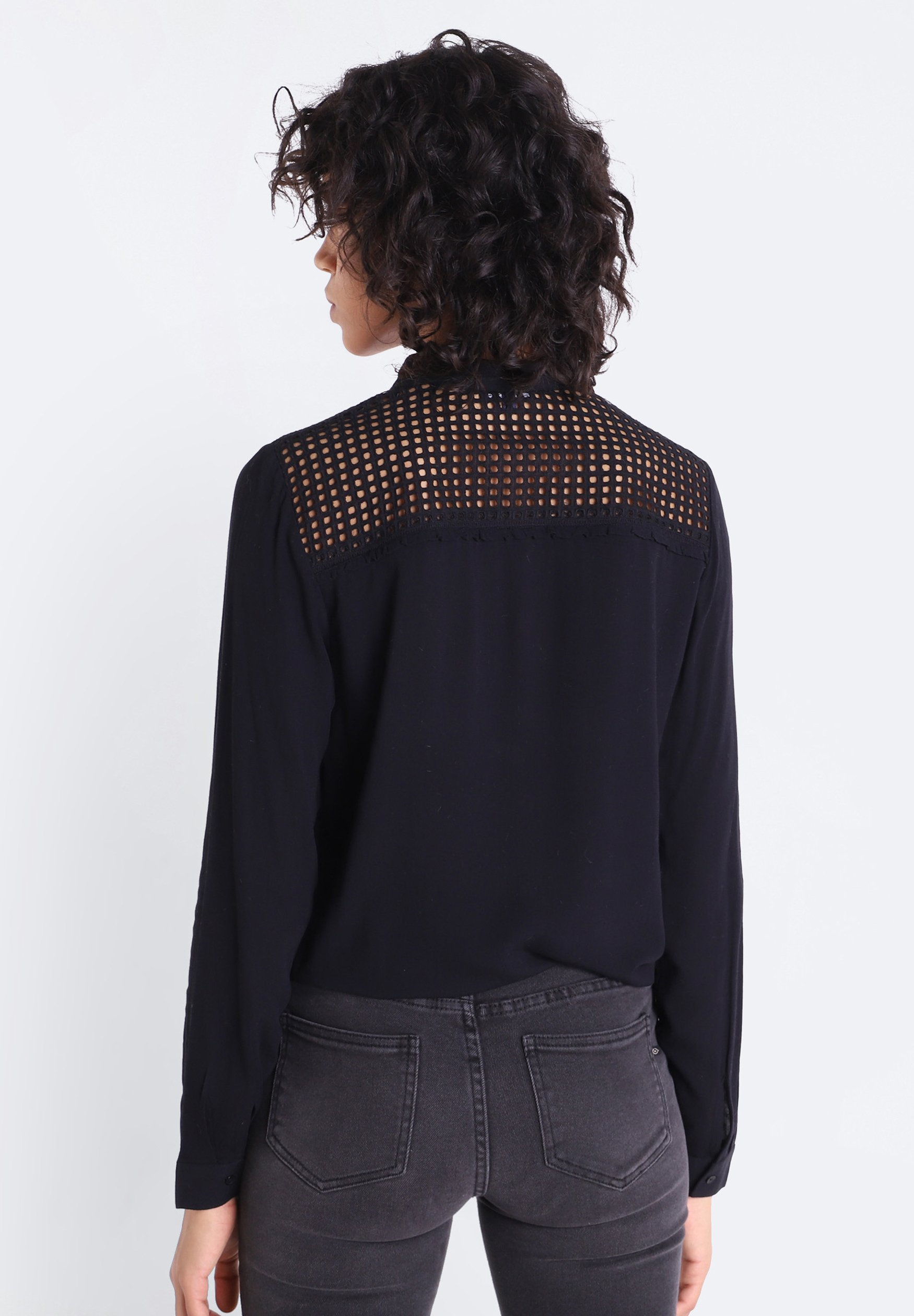 BONOBO Jeans LONG SLEEVE - Overhemdblouse - black - Dameskleding Klassiek