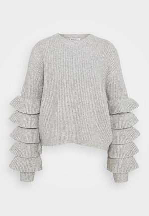 RUFFLE SLEEVE PULLOVER - Sweter - grey melange