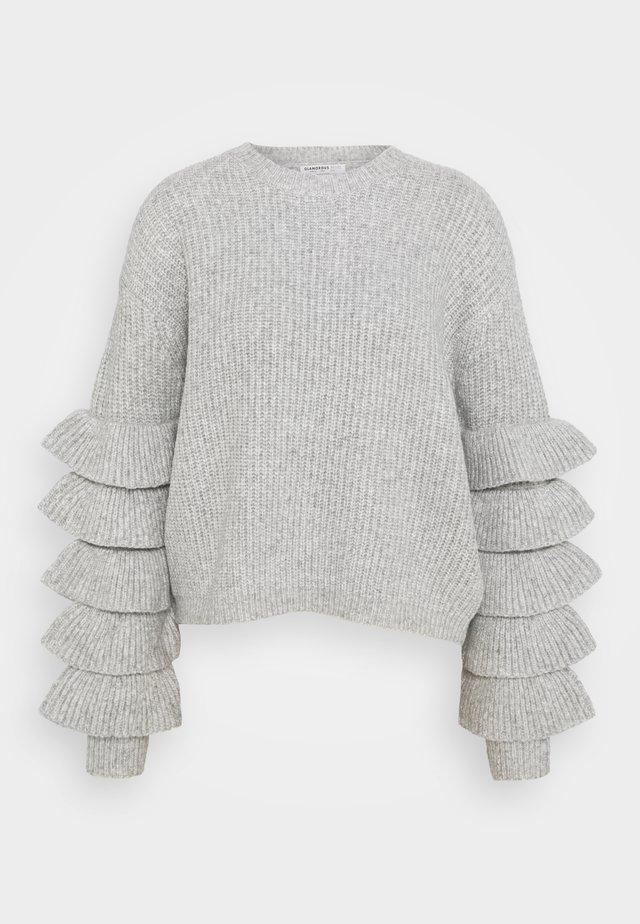 RUFFLE SLEEVE PULLOVER - Stickad tröja - grey melange