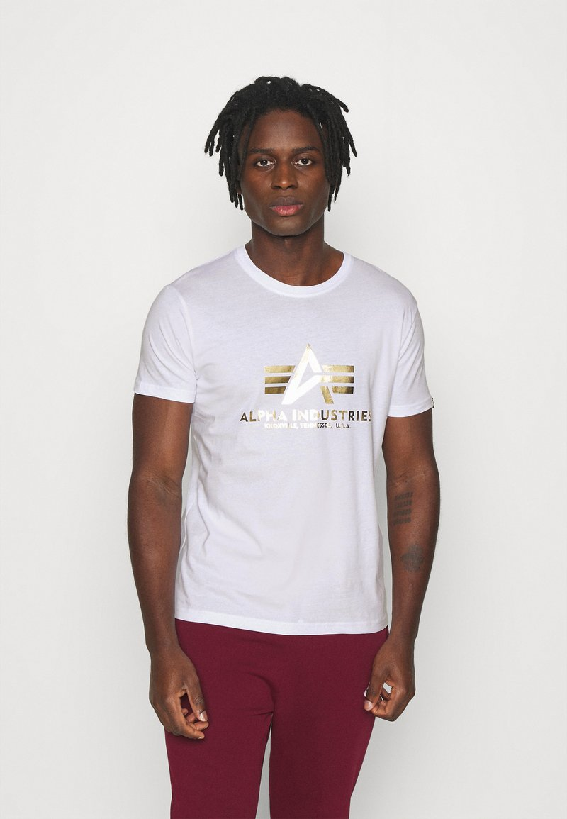 Alpha Industries - BASIC PRINT - Print T-shirt - white/yellow gold