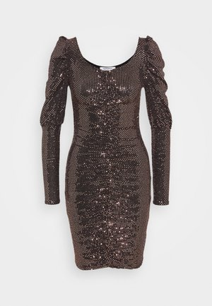 RUFFLE MINI DRESS WITH LONG SLEEVES AND V-NECK - Robe de soirée - bronze